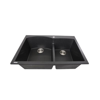 Plymouth 33 x 22 Double Basin Drop In Kitchen Sink Finish: Black