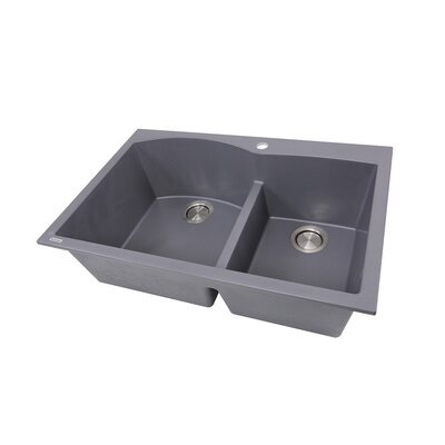 Plymouth 33 x 22 Double Basin Drop In Kitchen Sink Finish: Titanium