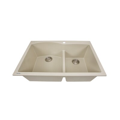 Plymouth 33 x 22 Double Bowl Dual Mount Granite Composite Kitchen Sink Finish: Sand