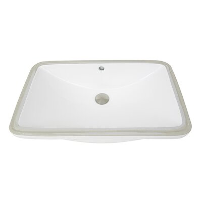 Great Point Vitreous China Rectangular Undermount Bathroom Sink with Overflow