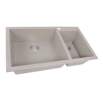 33.25 x 19.5 Double Basin Drop-In Kitchen Sink Finish: Truffle