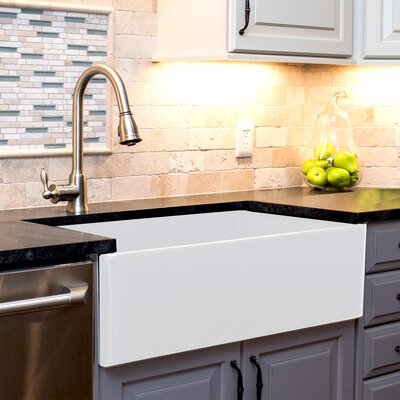 Cape 36 x 19 Farmhouse Kitchen Sink with Offset Drain and Grid