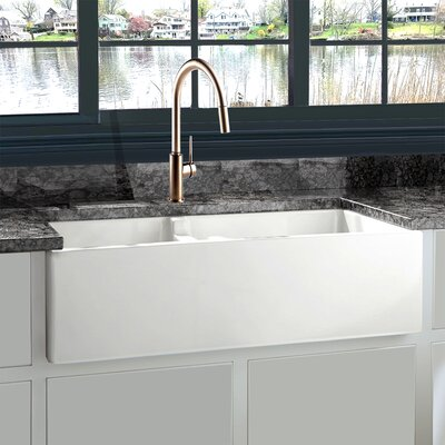 Cape 35.5 x 17.5 Double Basin Farmhouse Kitchen Sink