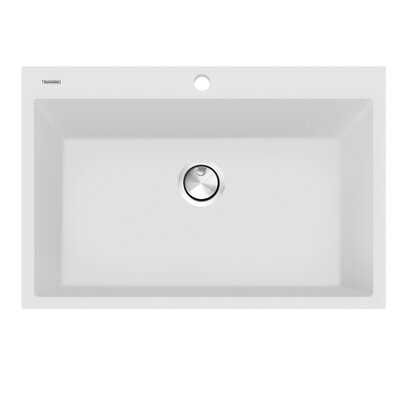 Large Single Bowl 30 L x 20 W Dual-Mount Kitchen Sink Finish: White
