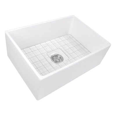 27 x 19 Farmhouse Fireclay Kitchen Sink with Drain and Grid