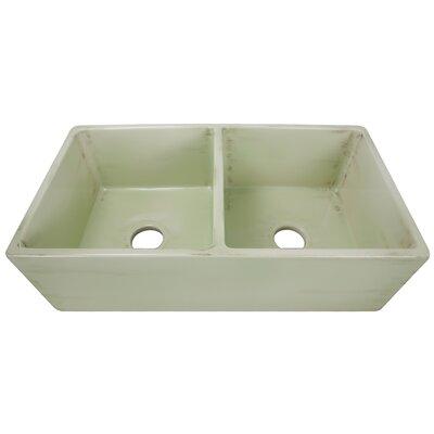 Vineyard 33 x 18 Double Basin Farmhouse Kitchen Sink Finish: Shabby Green