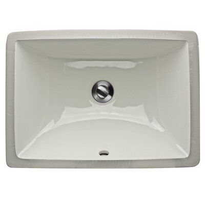 Great Point Ceramic Rectangular Undermount Bathroom Sink with Overflow