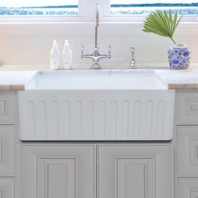 Reversible Fireclay 29.75 x 19.75 Farmhouse Kitchen Sink with Grid