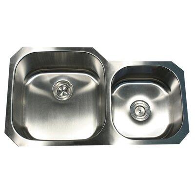 Sconset 35.38 x 20.13 x 8 Double Bowl Kitchen Sink Bowl Configuration: Left
