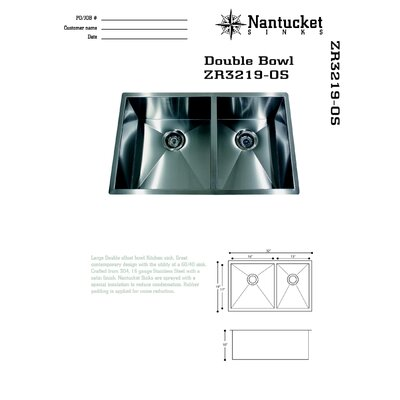 Pro Series 32 x 19 Double Offset Drop-In Kitchen Sink