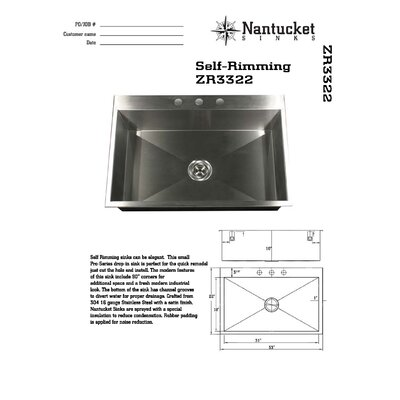 Pro Series 33 x 22 Self Rimming Single Bowl Kitchen Sink