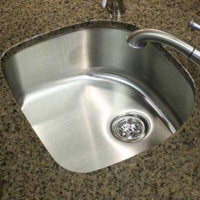 Quidnet 23.75 x 21.5 18 Gauge D Shape Undermount Kitchen Sink in Brushed Satin
