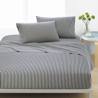 Ajo 300 Thread Count 100% Cotton Sheet Set Size: King, Color: Navy