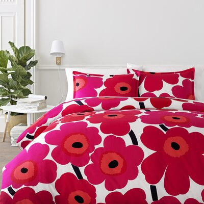 Unikko Reversible Duvet Cover Set Color: Red, Size: Full/Queen