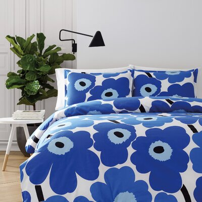 Unikko Reversible Duvet Cover Set Size: Twin, Color: Blue