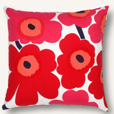 Pieni Unikko Cotton Pillow Cover Color: Red/White