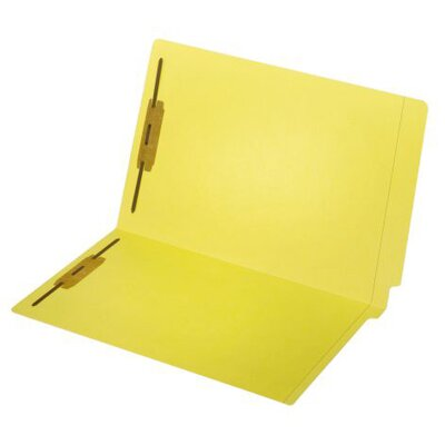 11 pt. Legal Size End Tab Fastener Folder (Set of 5) Color: Yellow