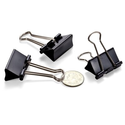 Binder Clips,Medium,1-1/4Wide,5/8 Cap, 12/BX, Black/Silver