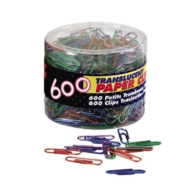 Translucent Paper Clips,Vinyl,Small,600/Tub, BE/PE/GN/RD/SR