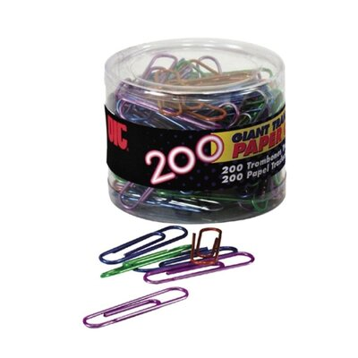 Translucent Paper Clips,Vinyl,Giant,200/Tub,BE/PE/GN/RD/SR