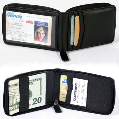 Winn International Cowhide Nappa Leather Zippered Wallet - Color: Black at Sears.com