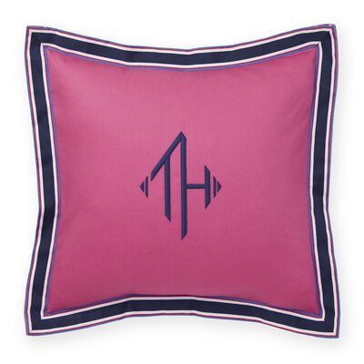 Monogram Grosgrain Flange Decorative Cotton Throw Pillow Color: Ibis Rose