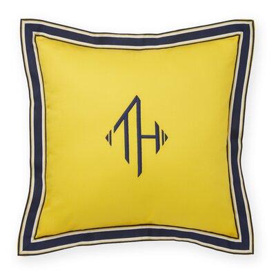 Monogram Grosgrain Flange Decorative Cotton Throw Pillow Color: Dandelion