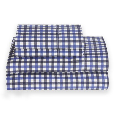 Block Island 180 Thread Count Sheet Set Size: Full, Color: Peacoat Blue