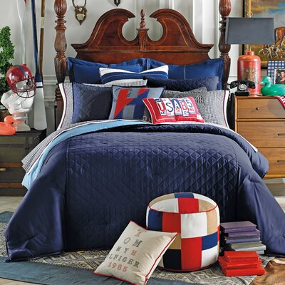 Prep Solid Duvet Cover Set Size: Full / Queen, Color: Midnight