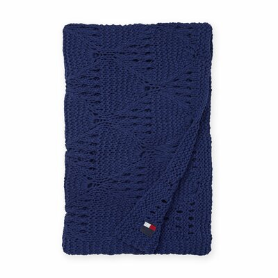 Bar Harbor Cotton Throw Color: Navy