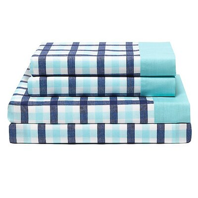 Palm Springs 180 Thread Count Gingham Sheet Set by Tommy Hilfiger Size: King, Color: Bleached Aqua
