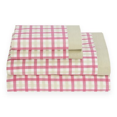 Palm Springs 180 Thread Count Gingham Sheet Set by Tommy Hilfiger Color: Ibis Rose, Size: Full