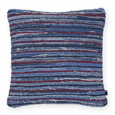 Rag Rug Decorative Throw Pillow Color: Denim/Red