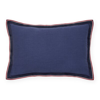 Applique Flange Grosgrain Cotton Lumbar Pillow