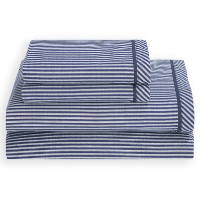 Cornwall 180 Thread Count 3 Piece Sheet Set by Tommy Hilfiger Color: Navy, Size: Twin XL