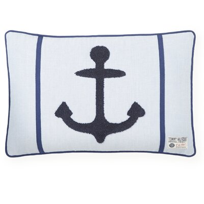 Embroidered Anchor Decorative Cotton Lumbar Pillow