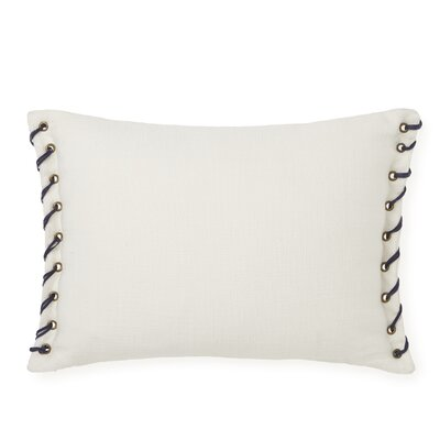 Whip Stitch Decorative Cotton Lumbar Pillow