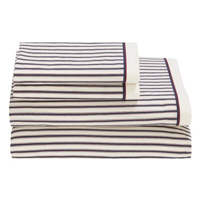 Ticking Stripe 180 Thread Count Sheet Set by Tommy Hilfiger Size: Full