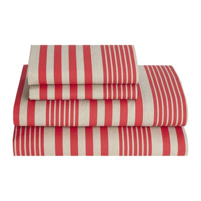 Seaport Stripe 180 Thread Count Sheet Set Size: Full, Color: Cherry