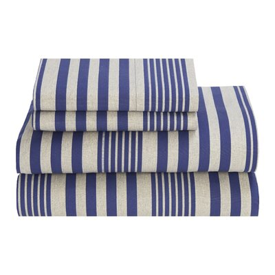 Seaport Stripe 180 Thread Count Sheet Set Color: Blue, Size: Queen