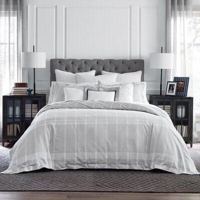 Argosy Reversible Duvet Cover Set Size: King, Color: Gray/White