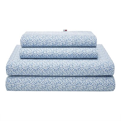 Garden Ditzy 180 Thread Count Sheet Set Color: Blue, Size: Queen