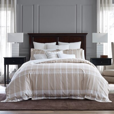 Argosy Reversible Duvet Cover Set Size: Twin, Color: Beige/White