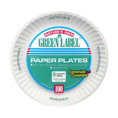 "(100 Per Container) 9"" Uncoated Paper Plate in White AJMPP9GRAWH"