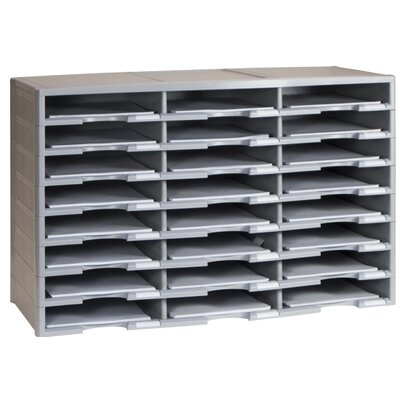 24 Compartment Literature Organizer Color: Grey