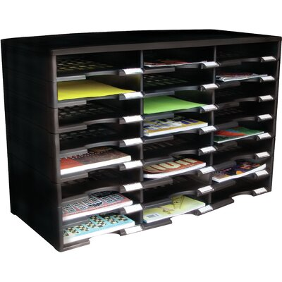 24 Compartment Literature Organizer Color: Black