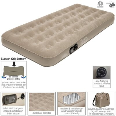 Twin Suede Top Air Bed with Built in Pump