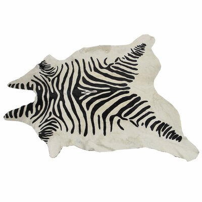 Painted Zebra Hide Black/White Area Rug