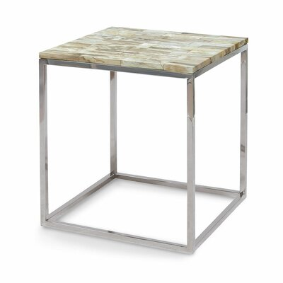 Mosaic Petrified Wood End Table