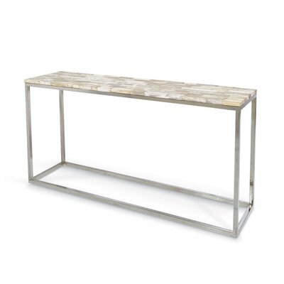 Mosaic Petrified Wood Console Table
